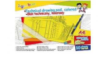 Blok techniczny kolorowy A4 GIMBOO 10 kartek