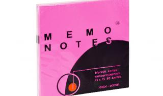 Karteczki samoprzylepne MEMO 76x76 różowy neonowy