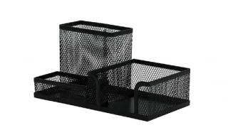 Przybornik na biurko Q-CONNECT czarny 3-komorowy metalowy
